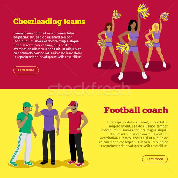Cheerleading Teams and Football Coach Web Banners Stock photo © robuart