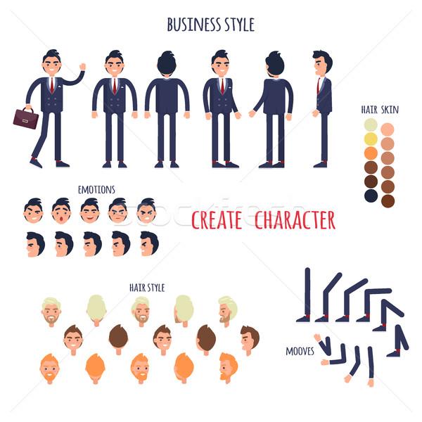 üzlet stílus készít karakter vektor poszter Stock fotó © robuart
