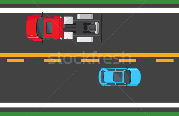 Blue Hatchback and Red Auto Driving on Highway Stock photo © robuart
