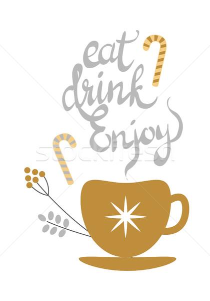 Manger boire jouir de bannière or décoré Photo stock © robuart