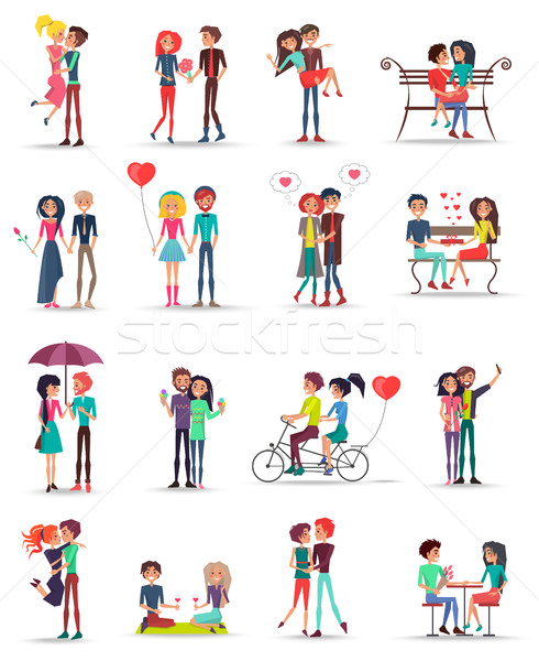 Dating of Couples in Love Collection on White Stock photo © robuart