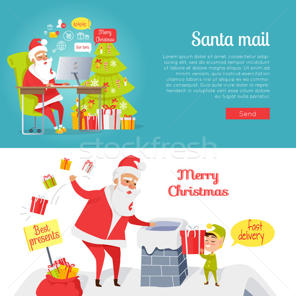 Set of Merry Christmas and Santa Mail Pictures Stock photo © robuart