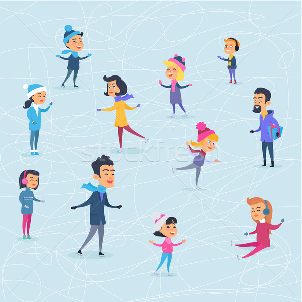 Different Cartoon People on Icerink in Winter Stock photo © robuart