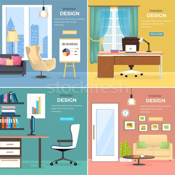 Design de interiores escritório quartos mobiliário quatro moderno Foto stock © robuart