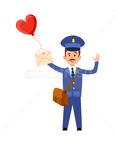 Валентин пост почтальон сердце шаре изолированный Сток-фото © robuart