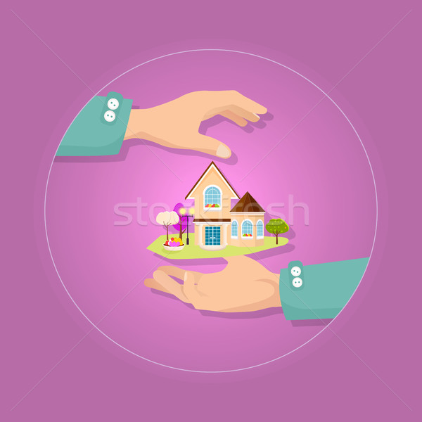 Beautiful house with garden on pink background. Stock photo © robuart