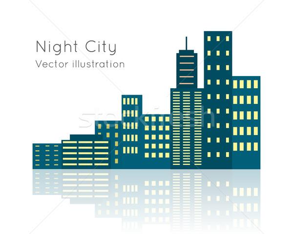 Night City Vecor Illustration on White Backgrpund. Stock photo © robuart