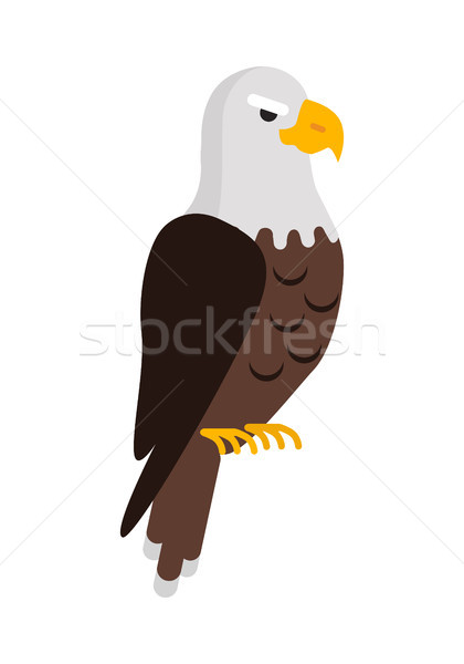Stock photo: Eagle Large Bird of Prey Cartoon Isolated on White