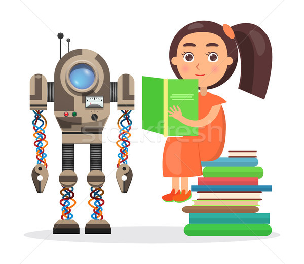 Girl Sits on Pile of Books and Reads Beside Robot Stock photo © robuart