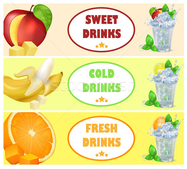 Sweet Cold Fresh Drinks with Tasty Juicy Fruits Stock photo © robuart