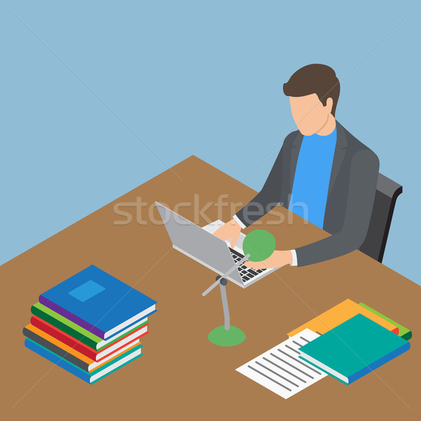 Faceless Male Person Working with Laptop at Table Stock photo © robuart