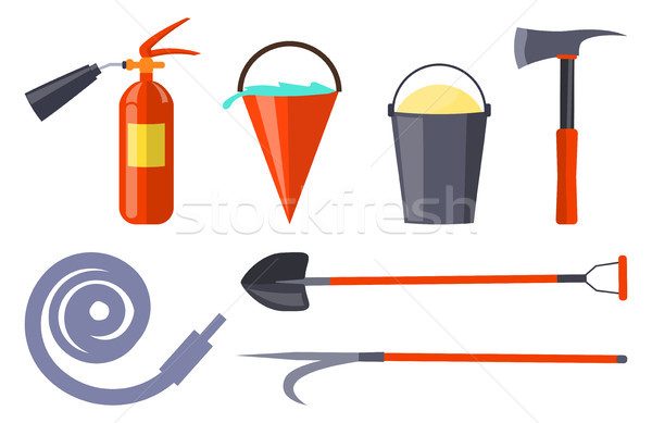 Fire Protection Equipment Collection on White Stock photo © robuart