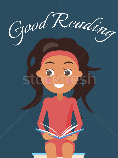 Good Reading Poster with Brunette Young Girl Stock photo © robuart