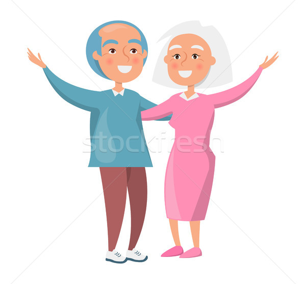 Old Couple Spending Time Together Isolated White Stock photo © robuart