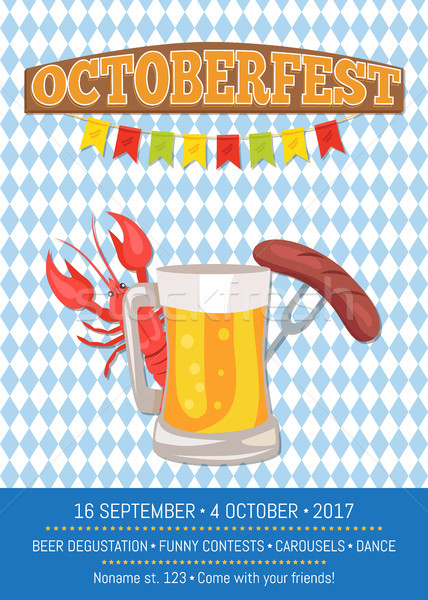 Octoberfest Poster Depicting Beer Mug and Food Stock photo © robuart