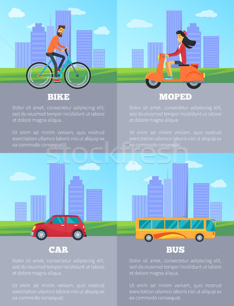 Bike and Moped, Car and Bus Vector Illustration Stock photo © robuart