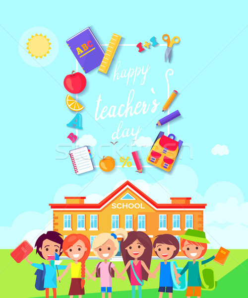 Happy Teachers Day Colorful Vector Illustration Stock photo © robuart