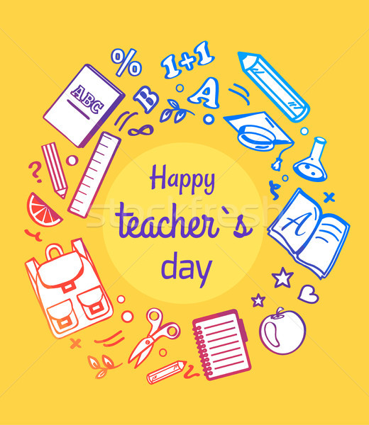 Happy Teachers Day Framed Vector Illustration Stock photo © robuart