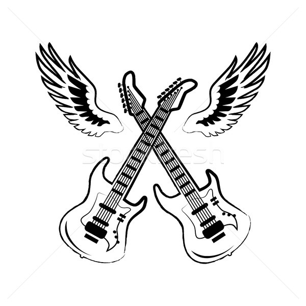 Rock Electric Guitars Wings Vector Illustration Stock photo © robuart