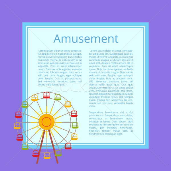 Amusement Poster Ferris Wheel with Color Cabins Stock photo © robuart