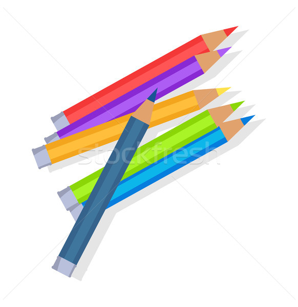 Colorful Pencils Mixed in Pile Vector Illustration Stock photo © robuart