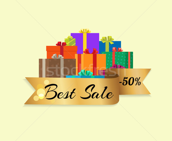 Best Sale 50 Off Poster with Gold Ribbon Gift Box Stock photo © robuart