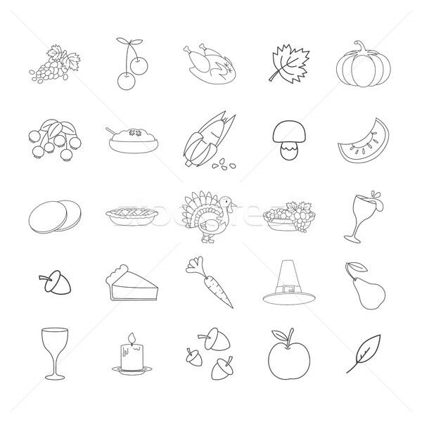 Thanksgiving Symbols Line Vector Icons Collection Stock photo © robuart