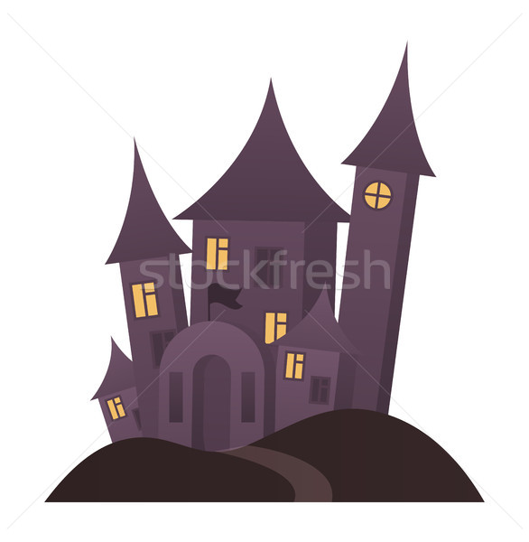 Closeup of Creepy House on Vector Illustration Stock photo © robuart