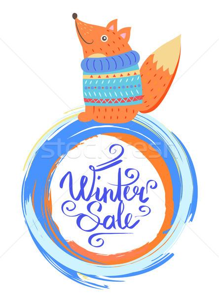 冬 販売 ポスター 笑みを浮かべて キツネ セーター ストックフォト © robuart
