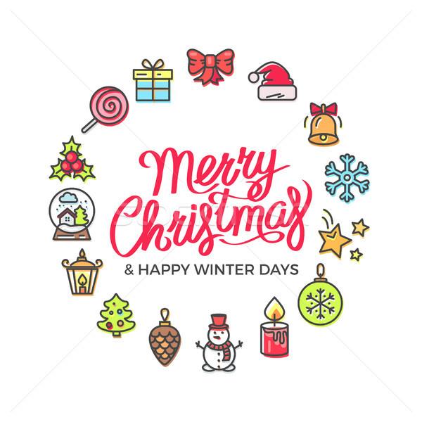 Merry Christmas Happy Days Vector Illustration Stock photo © robuart