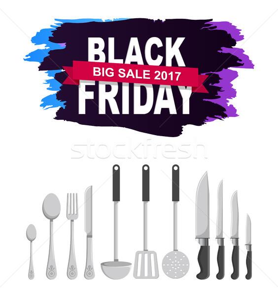 Black friday grand vente blanche ensemble brillant Photo stock © robuart