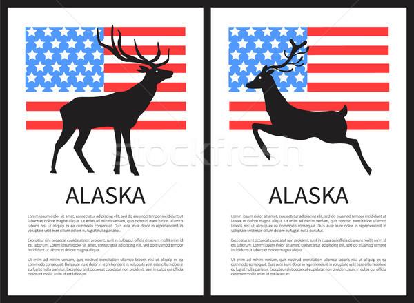 Alaska Deer and Text Sample on Vector Illustration Stock photo © robuart