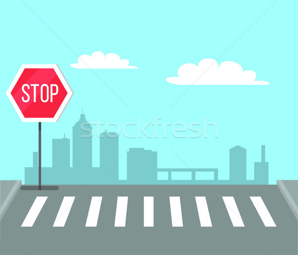 Сток-фото: пешеход · знак · остановки · светофор · светофора · город · центр