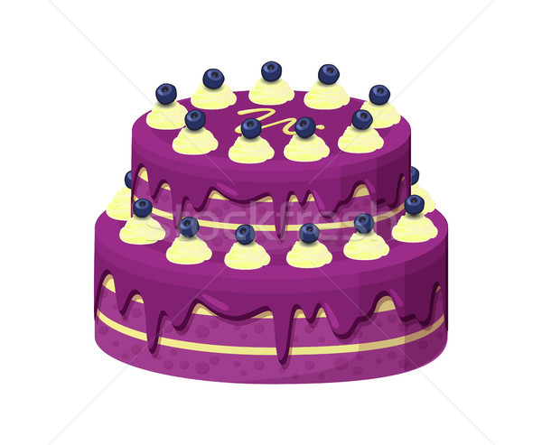 Big Lilac Pie with Berries Vector Illustration Stock photo © robuart