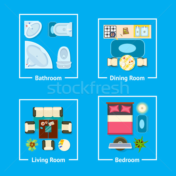 Apartment Plan Interior Design Vector Illustration Stock photo © robuart