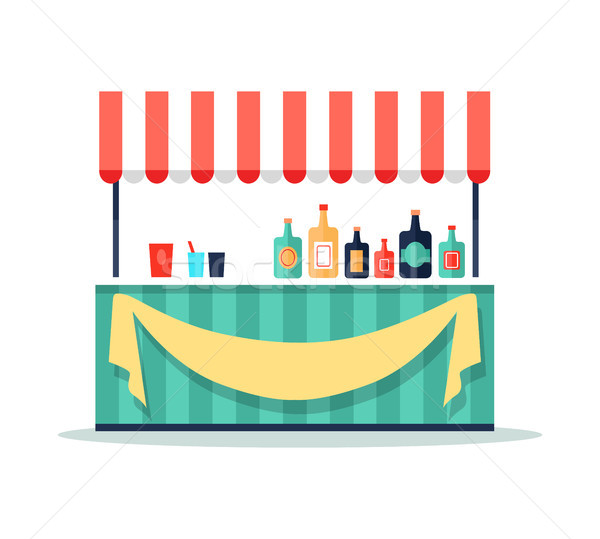 Colorful Beverage Booth Icon Vector Illustration Stock photo © robuart
