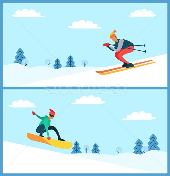 スキーヤー スノーボーダー セット ベクトル ポスター 男性 ストックフォト © robuart