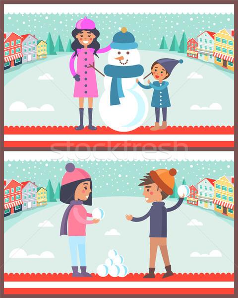 Menina jogar boneco de neve feliz casal Foto stock © robuart