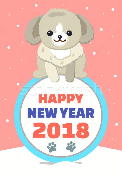 Happy New Year Poster with Dog Vector Illustration Stock photo © robuart