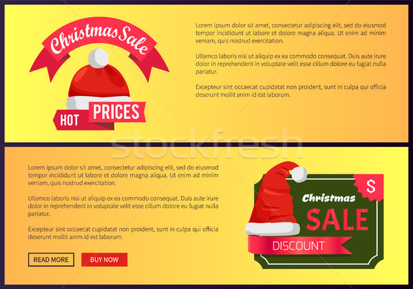 Hot Prices Christmas Sale Web Banners Push Buttons Stock photo © robuart
