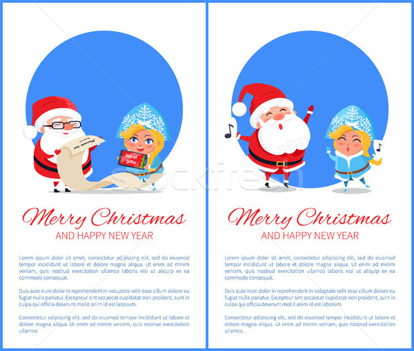 Merry Christmas Help of Santa Vector Illustration Stock photo © robuart