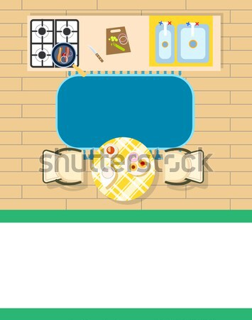 Keuken interieur stoelen tabel platen Stockfoto © robuart