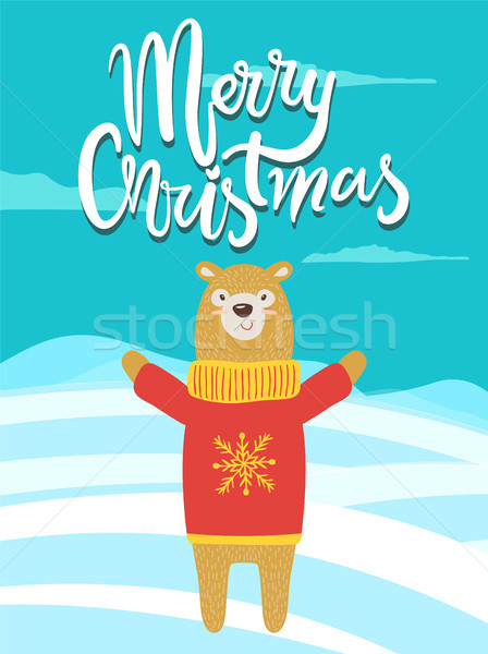 Merry Christmas Banner Congratulation from Bear Stock photo © robuart