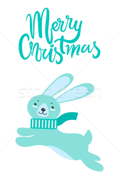 Merry Christmas Greeting Card Rabbit Long Ears Stock photo © robuart