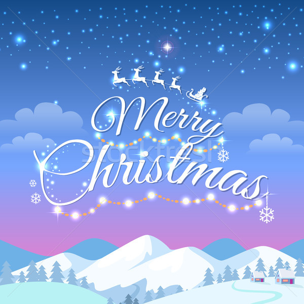 Merry Christmas Greeting Card with Snowy Mountains Stock photo © robuart