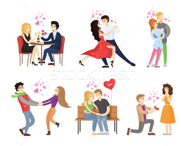 Vriendje vriendin restaurant dans tango omarmen Stockfoto © robuart