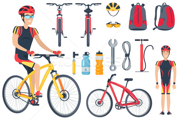Cyclist and Bicycle Tools Set Vector Illustration Stock photo © robuart
