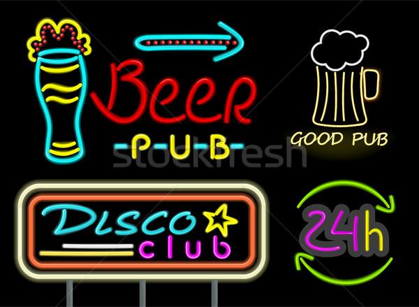 Bira birahane iyi içmek neon işaretleri Stok fotoğraf © robuart