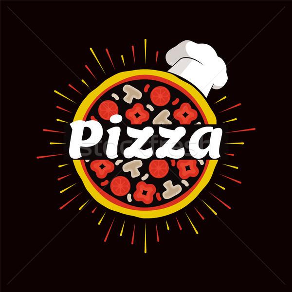 Pizza étterem promóciós embléma szakács sapka promo Stock fotó © robuart