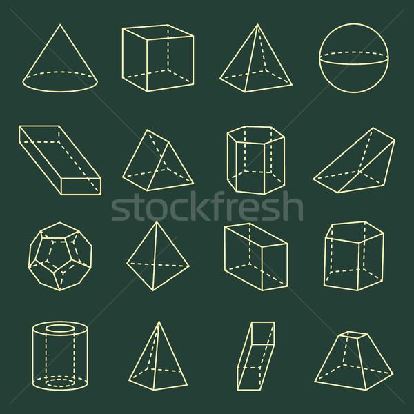 Geometrik toplama 3D afiş koni Stok fotoğraf © robuart